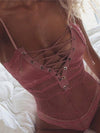 Sexy Lace Split-Joint Deep V-Neck Bandage Teddy Lingerie