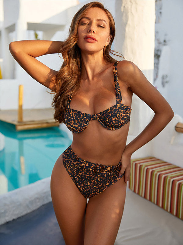 Leopard Print Underwired Split Bikini Swimsuit