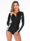 Long Sleeve Floral Printing Two-Piece Wetsuit