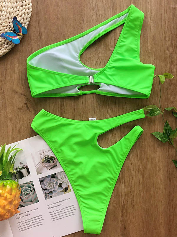 Asymmetric Solid Color Hollow Split Bikini Swimsuit