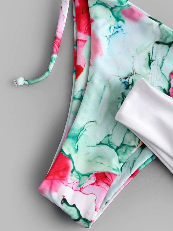 Abstract Printed & Solid Color Split Bikini Swimsuit