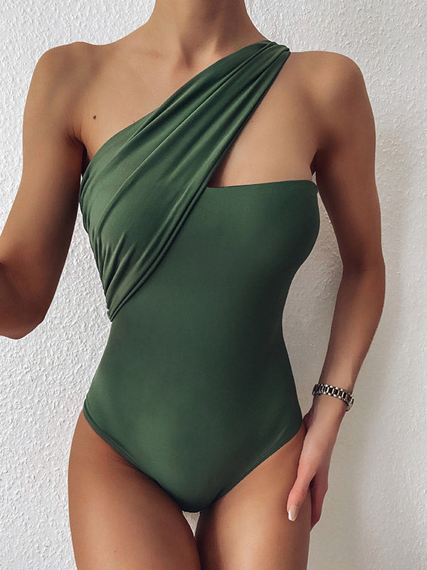 Solid Color One-Shoulder Asymmetric One-Piece Swimwear