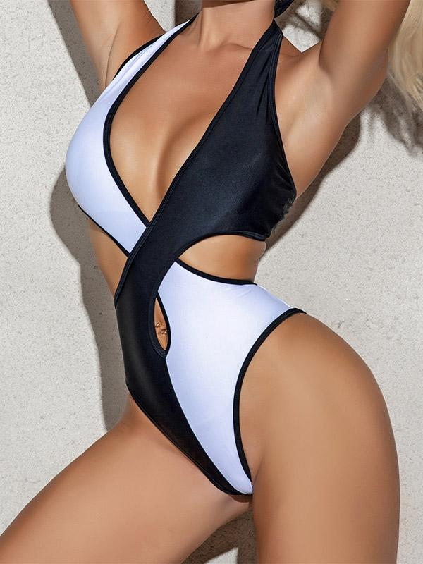 Sexy Contrast Color Hollow Bandage One-Piece Swimwear
