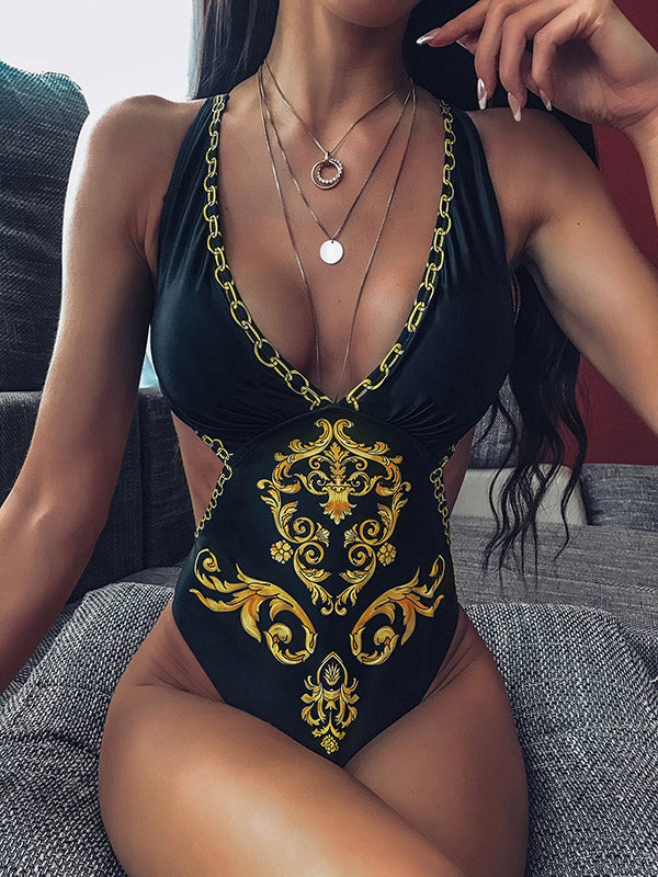 V-Neck Hollow Backless Printing One-Piece Swimwear