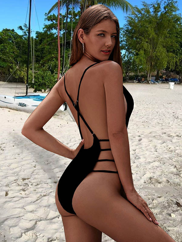 Sexy Hollow Bandage One-Piece Swimwear