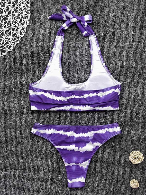 Tie-Dyed Abstract Printed Halterneck Knotted Split Bikini Swimsuit