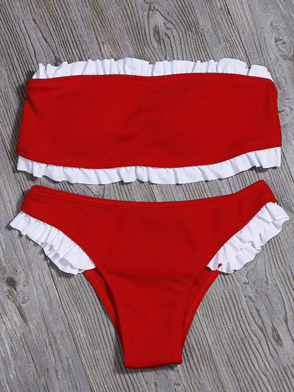 Ruffled Bandeau Split Bikini Swimsuit