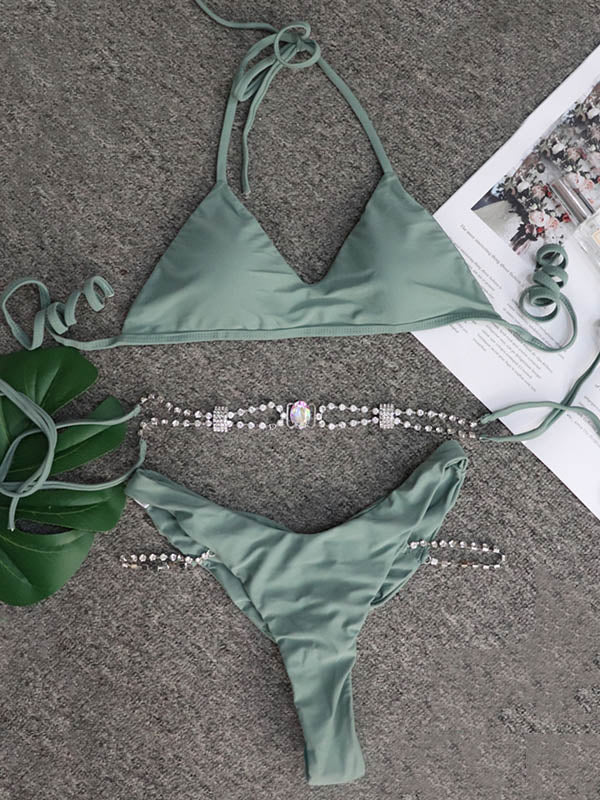 Gorgeous Embellished Solid Color Split Bikini Swimsuit