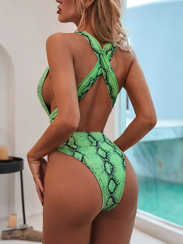 Elastic Crisscross-Back One-Piece Swimwear
