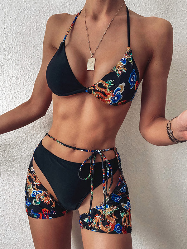 Ethnic Printed Asymmetrictriangles Three-Piece Set Bikini Swimsuit