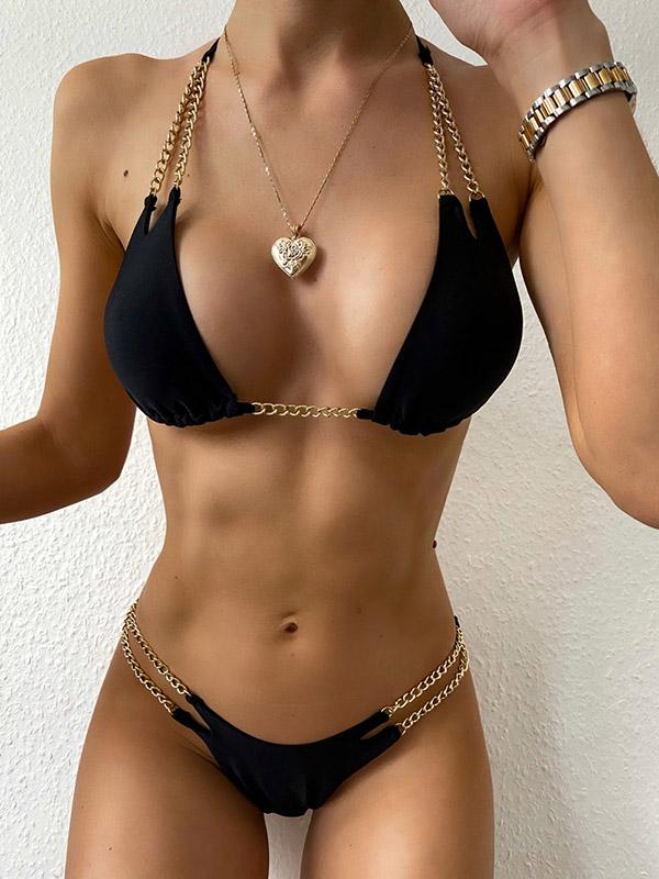 Sexy Chain Gorgeous Embellished Triangles Halterneck Split Bikini Swimsuit