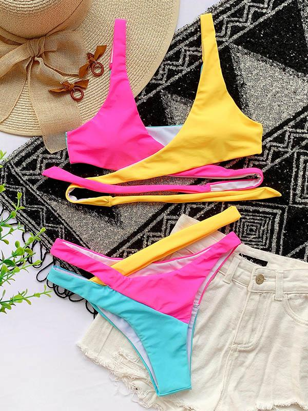 Contrast Color Split-Joint Bandage Asymmetric Split Bikini Swimsuit