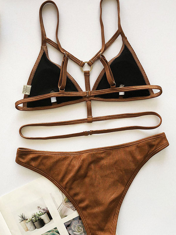 Bandage V-Neck Metal-Buckled Bikini Swimwear