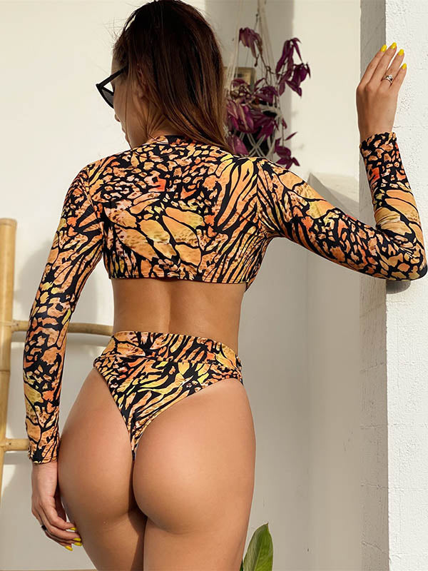 Long Sleeves Hollow Printed Siamese Swimwear