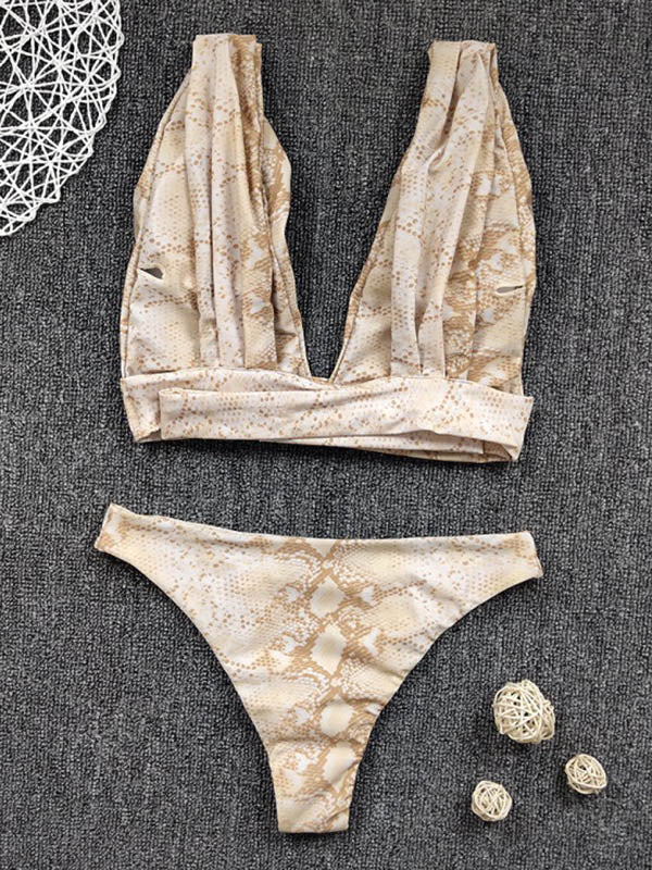 Snake-Print Deep V-Neck Split Bikini Swimsuit