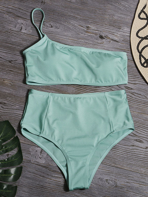One-Shoulder Solid Color Split Bikini Swimsuit