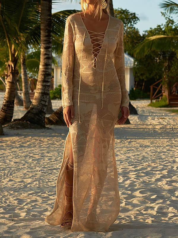 Sexy Knitted See-Through Long-Sleeved Cover-Ups Maxi Dress