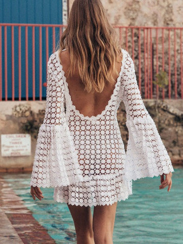 Tasseled Solid Sun Protection Cover-Up Swimwear