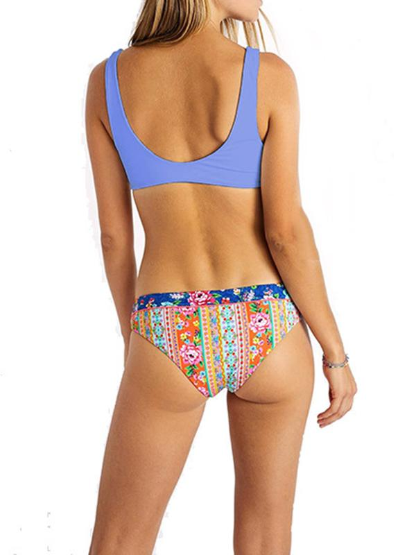 Floral-Print Color-Block Knotted Split Bikini Swimsuit