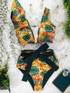 Floral Printed Ruffle V-Neck One-Piece Swimsuit