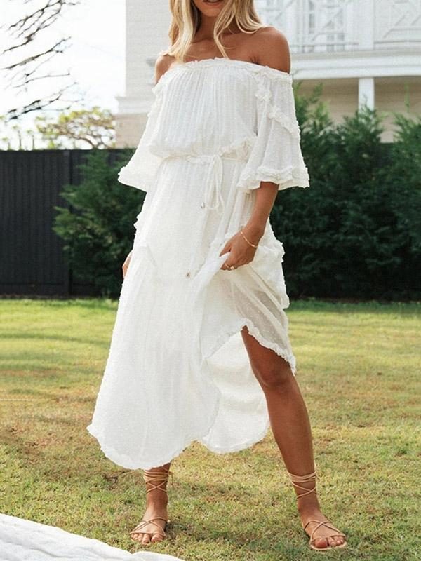 Solid Color Loose Off-The-Shoulder Chiffon Bohemia Midi Dress