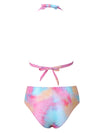 Gradient Halterneck Knotted Split Bikini Swimsuit