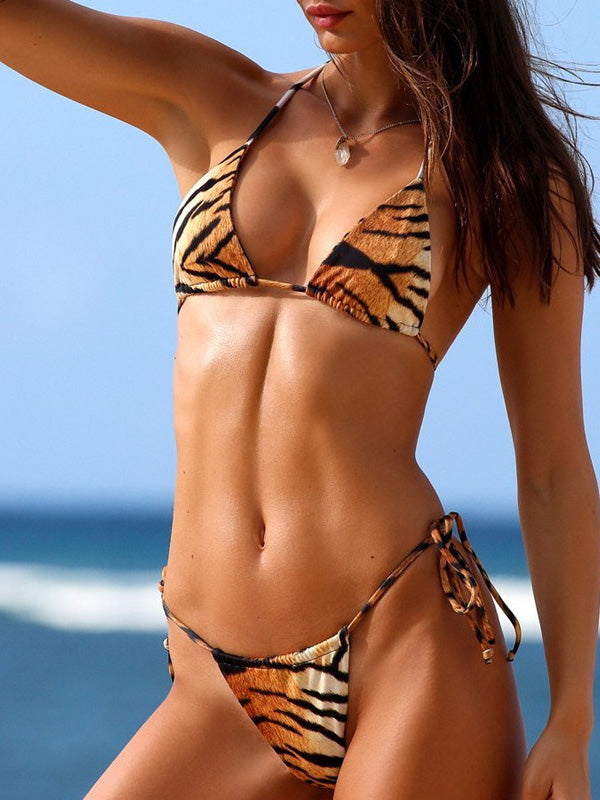 Tiger Print Split Bikini Swimsuit