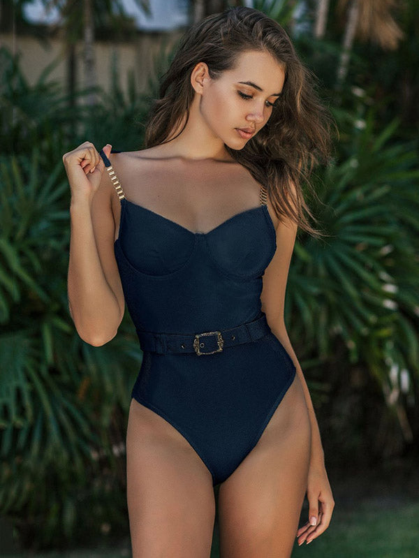 Gorgeous Embellished Underwired Belted One-Piece Swimwear