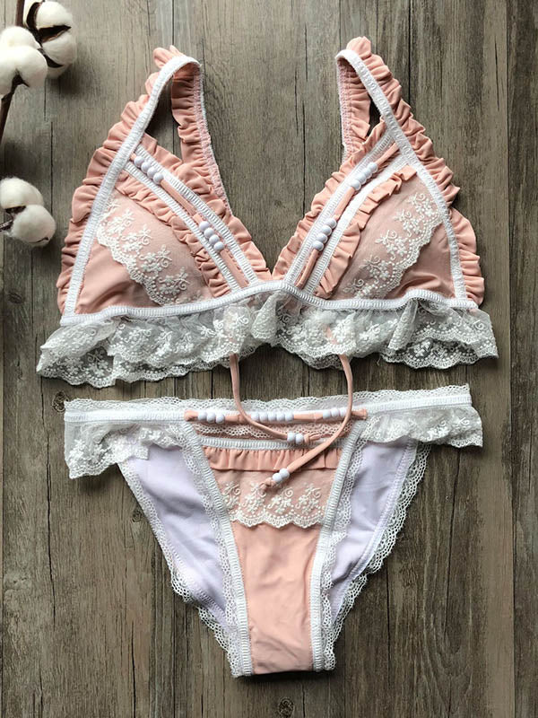 Lace Split-Joint Triangles Split Bikini Swimsuit