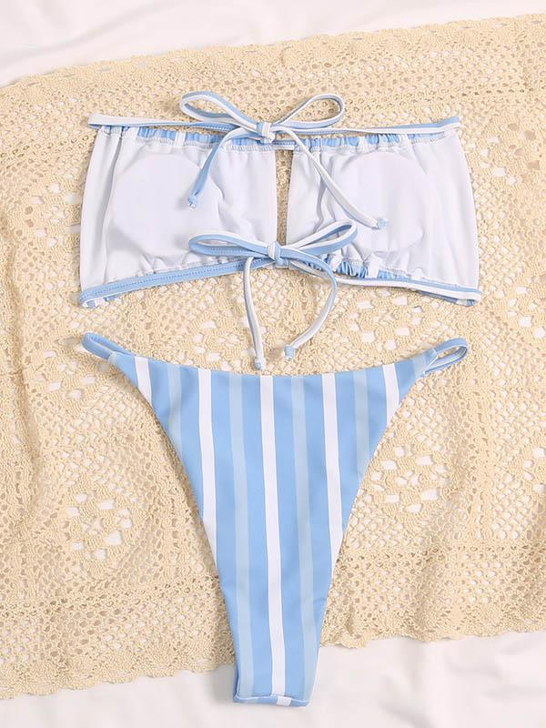 Striped Hollow Bandage Backless Split Bikini Swimsuit