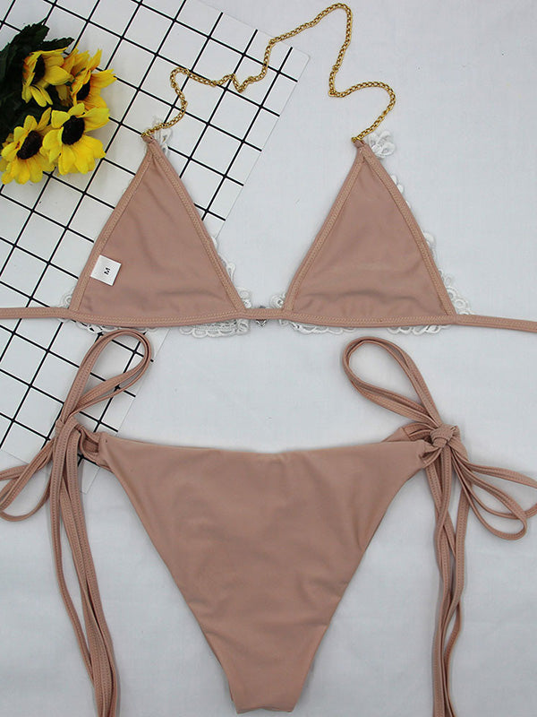 Gorgeous Embellished Lace Triangles Split Bikini Swimsuit