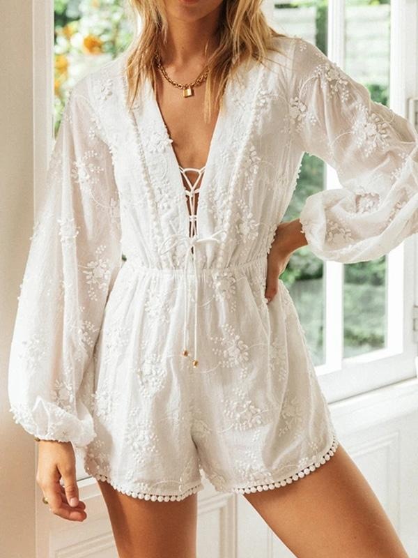 Embroidered Tiered Falbala Puff Sleeves Bandage Bohemia Rompers