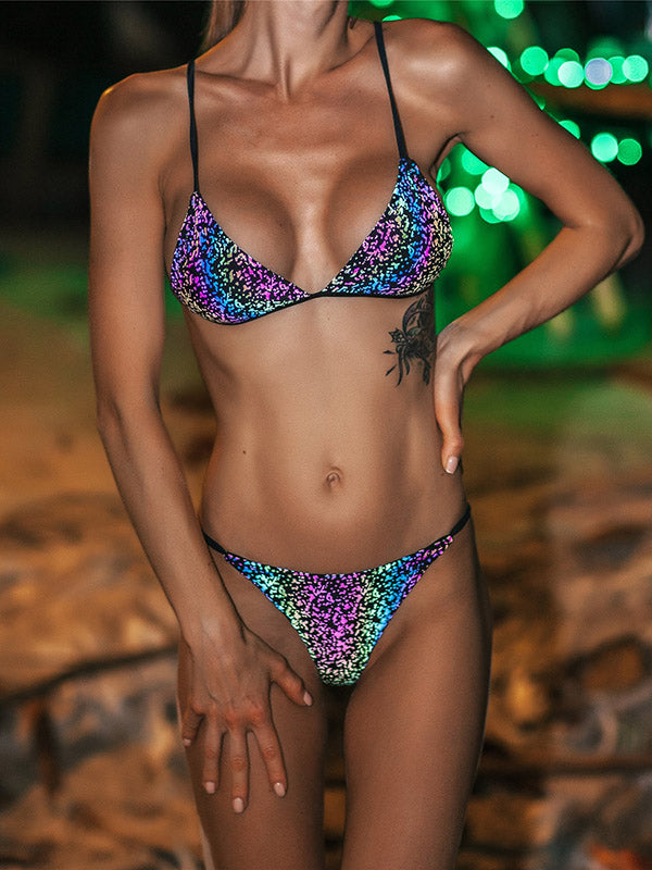 Individuality Luminous Camouflage Triangles Split Bikini Swimsuit
