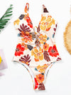 Hollow Bandage Floral-Print One-Piece Swimwear