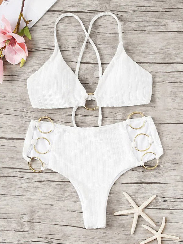 Solid Color Ring Hollow Split Bikini Swimsuit