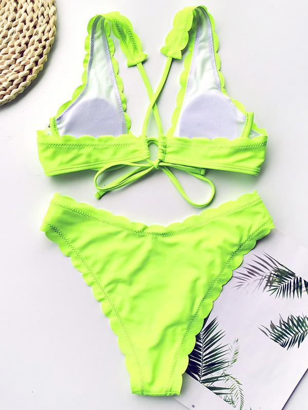 Solid Color Fringed Underwired Split Bikini Swimsuit