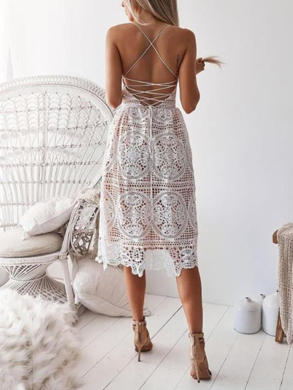 Lace Hollow Backless Hollow Bohemia Midi Dres