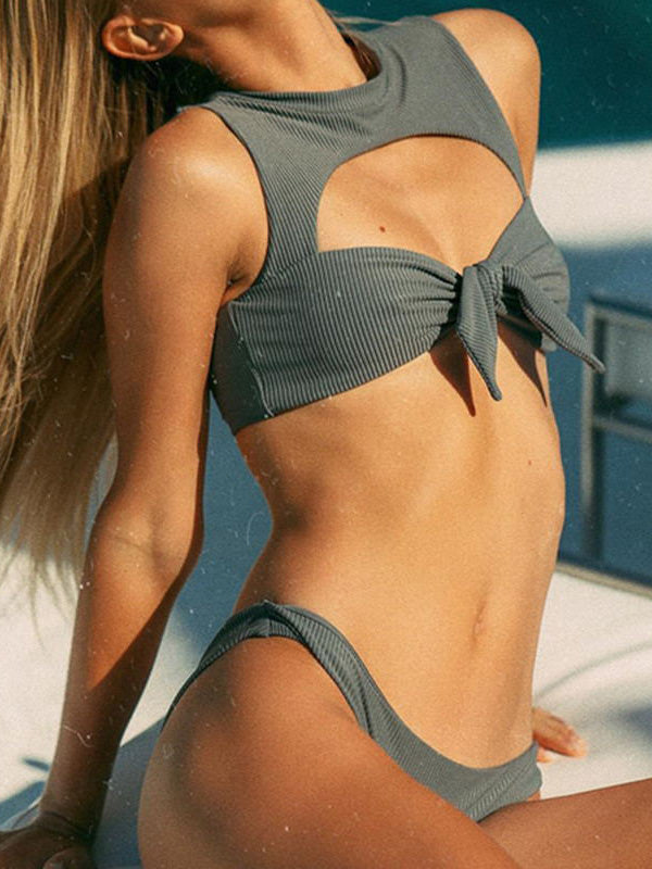 Solid Color Hollow Knotted Split Bikini Swimsuit