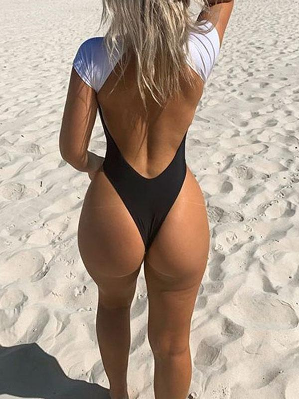 Sexy Backless Color-Block Short Sleeve One-Piece Wetsuit