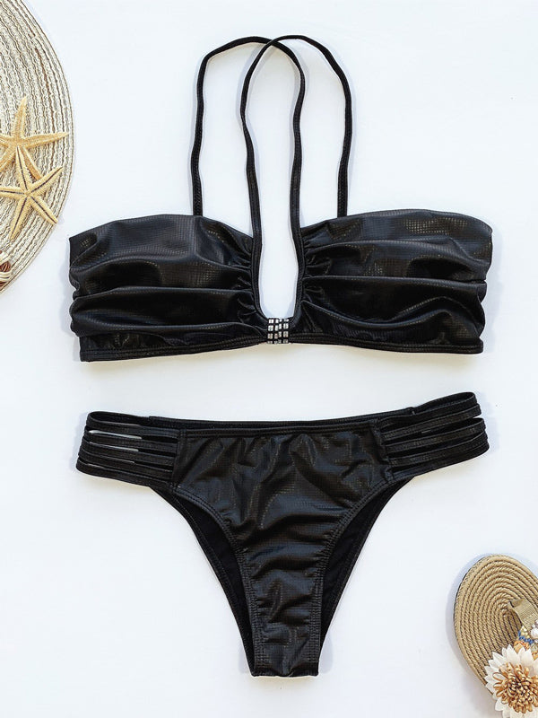 Gathered Split Bikini Swimsuit