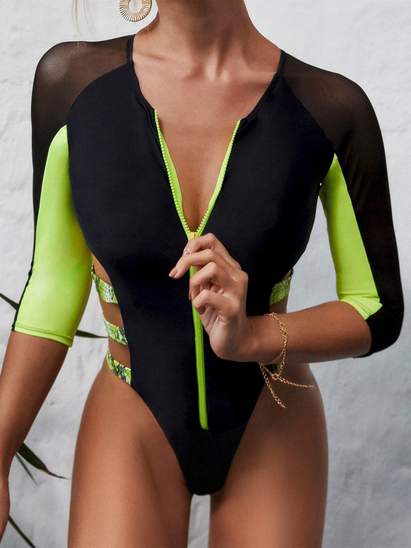 Long Sleeve Split-Joint Bandage One-Piece Wetsuit