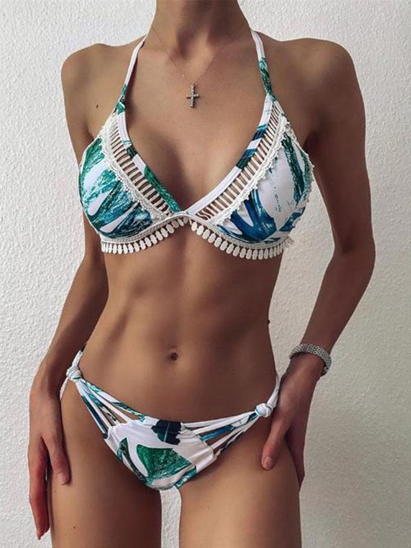 Floral-Print Lace Split-Joint Triangles Split Bikini Swimsuit