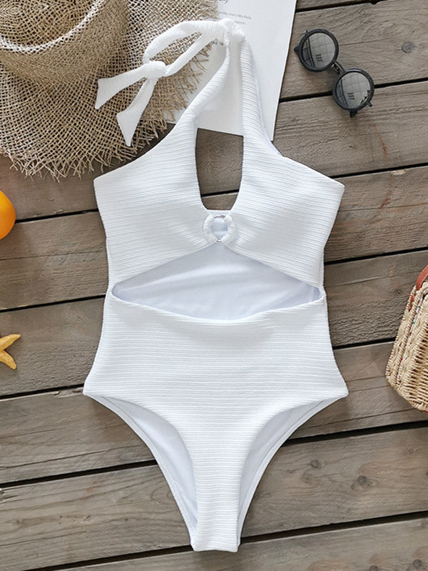 Solid Color Hollow Halterneck One-Piece Swimwear