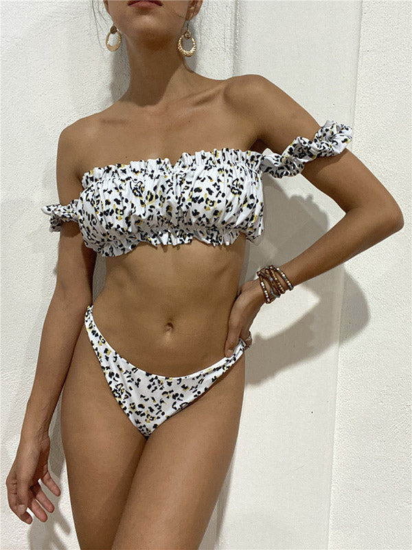 Leopard Print Off-The-Shoulder Bubble Sleeves Split Bikini Swimsuit