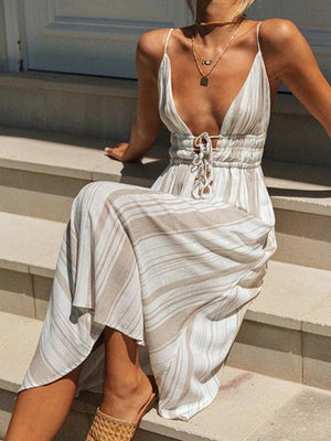 Striped Printed Bandage Spaghetti-Neck Bohemia Maxi Dress