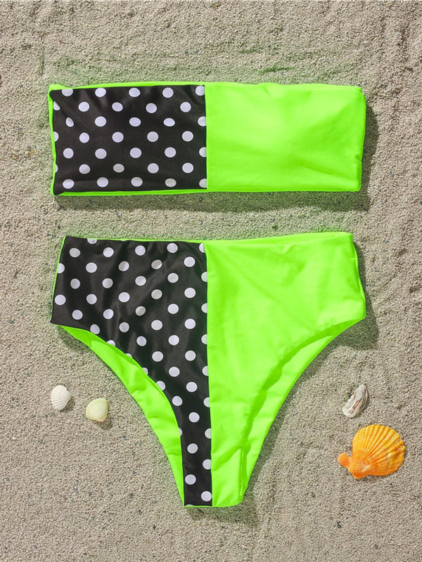 Polka-Dot Split-Joint Bandeau Split Bikini Swimsuit