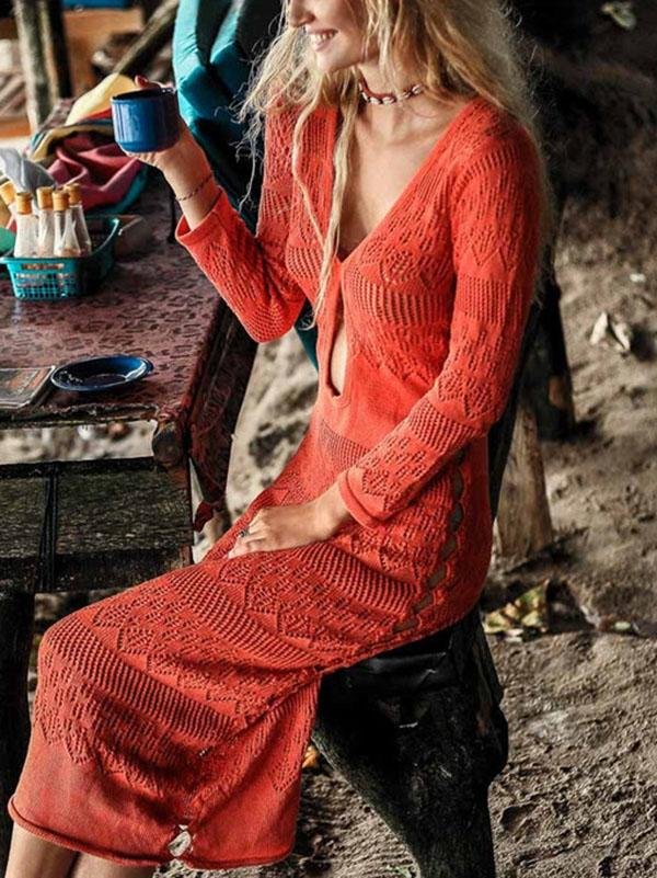 Laceknitted Hollow Thin Long Sleeve Bohemia Maxi Dress