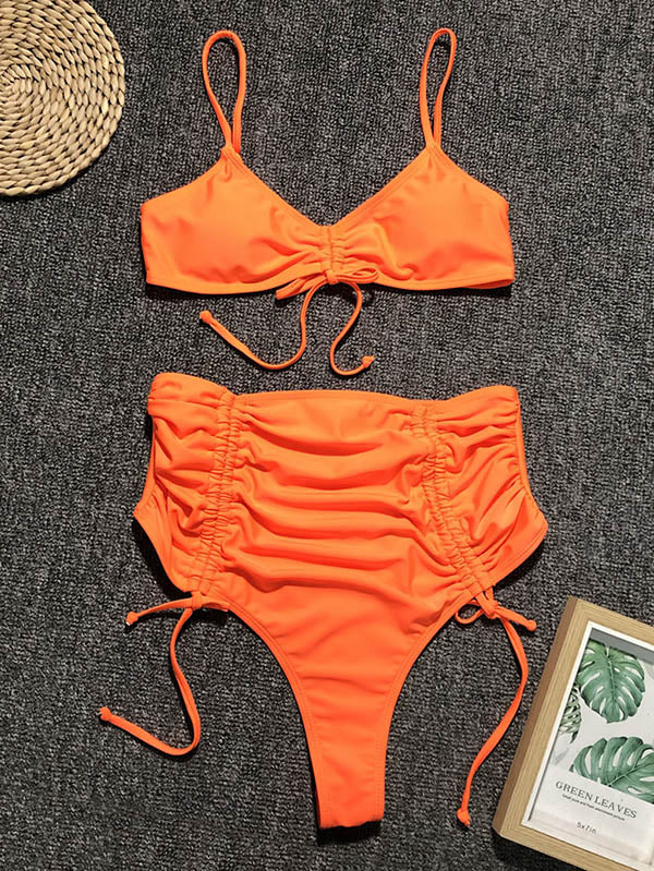 Solid Lace-Up Empire Bikini Swimsuit