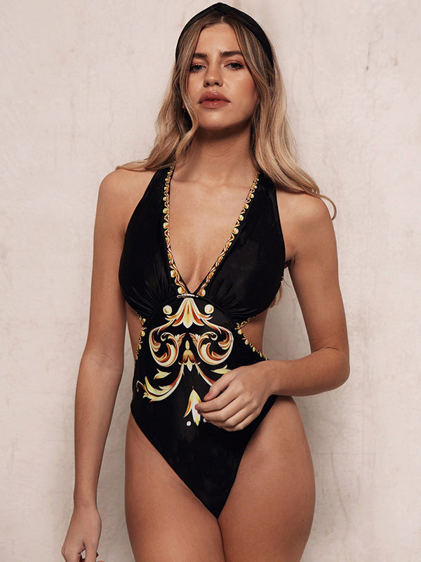 Ethnic Printed V-Neck Backless One-Piece Swimwear