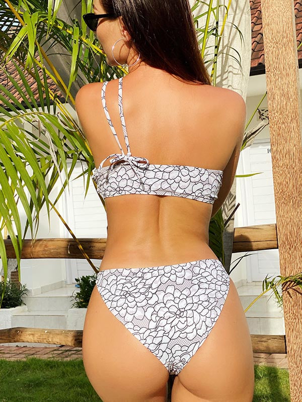 One-Shoulder Drawstring Split Bikini Swimsuit